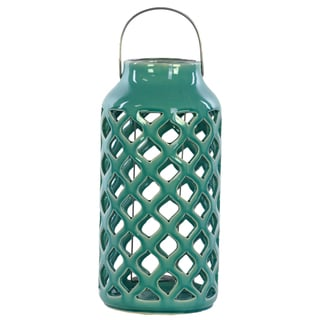 13 inches High Ceramic Lantern Turquoise