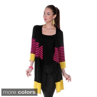 Women's Colorblock Striped 3/4-sleeve Open Cardigan