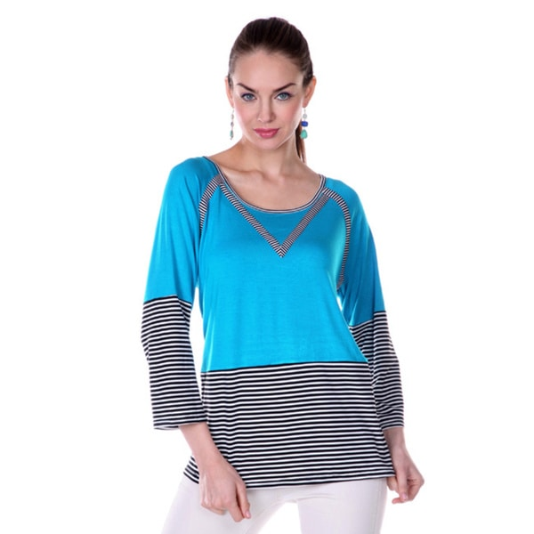Firmiana Women's Black and Blue Colorblocked 3/4-sleeve Shirt
