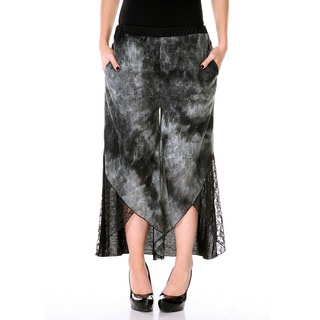 Women's Acid-washed Lace Gaucho Pants