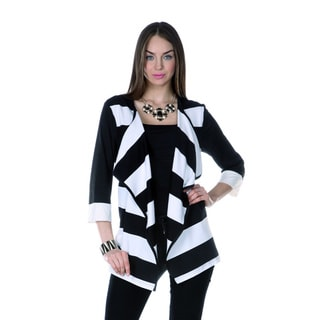 Women's Black/ White 3/4-length Sleeve Jacket