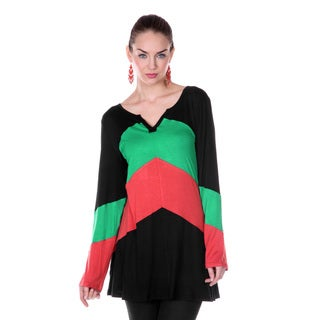 Women's Colorblock Split-neck Long-sleeve Top