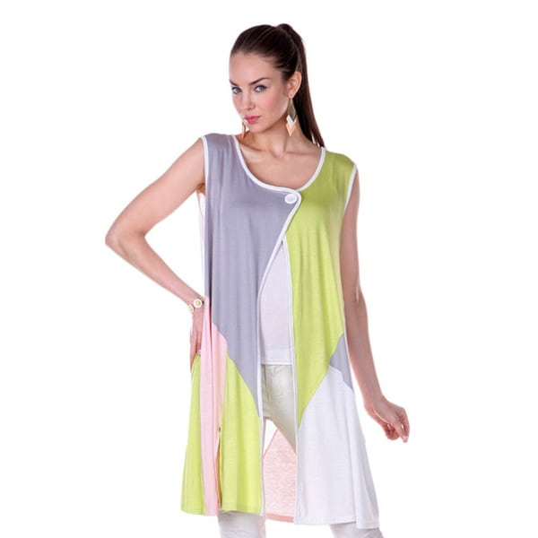 Firmiana Women's Colorblock Split-neck Sleeveless Top