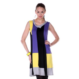 Women's Colorblock Black/ Purple Cowl-neck Sleeveless Top