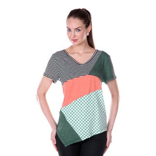 Women's Asymmetrical Short-sleeve Patchwork Shirt