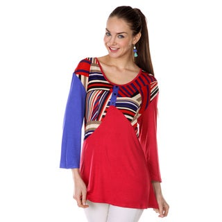 Women's 3/4-length Sleeve Abstract Shirt