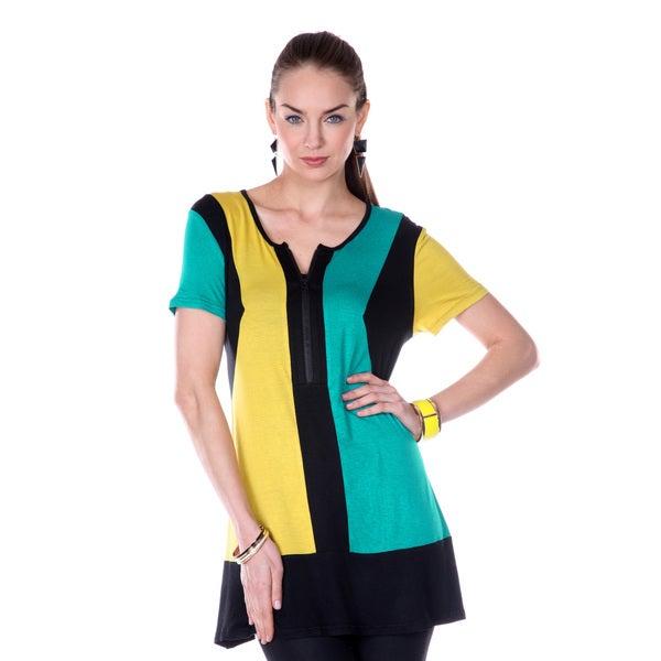Firmiana Women's Green/ Yellow Split-neck Short-sleeve Top
