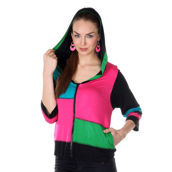 Firmiana Women's Pink/ Green Colorblock 3/4-length Sleeve Hooded Jacket