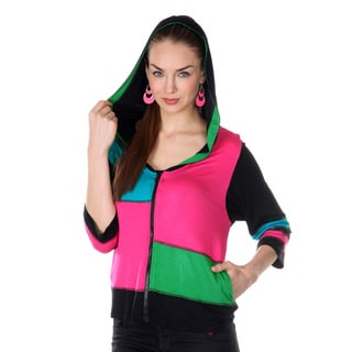 Women's Pink/ Green Colorblock 3/4-length Sleeve Hooded Jacket