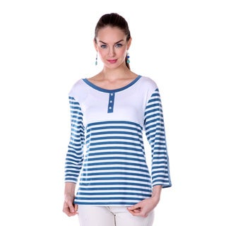 Women's Blue/ White Stripe 3/4-length Sleeve Shirt