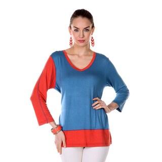 Women's Navy/ Orange 3/4-length Sleeve Shirt
