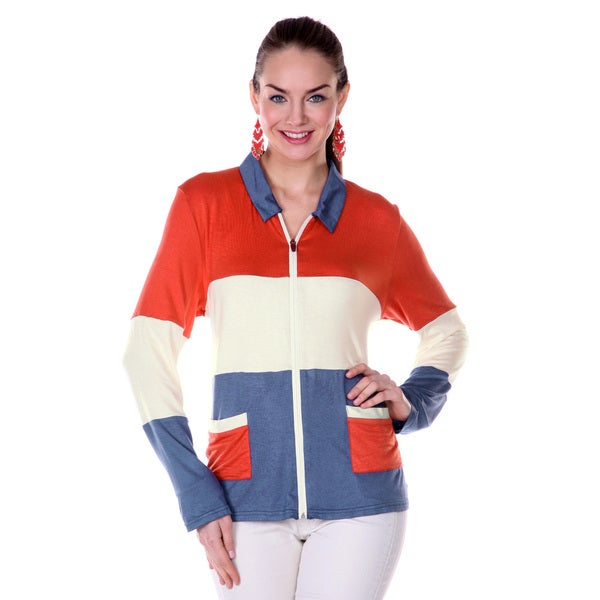 Firmiana Women's Navy/ Orange Zipper-front Long-sleeve Shirt