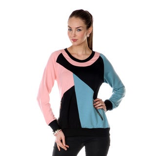 Women's Pink/ Blue Colorblock Long-sleeve Top