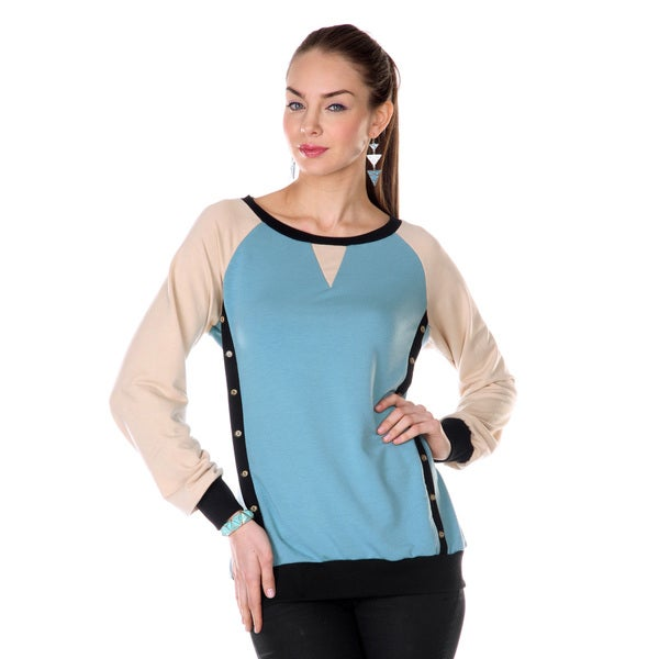 Firmiana Women's Cream/ Light Blue Long-sleeve Top