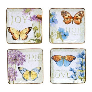 Herb Garden 6-inch Square Canape Plate (Set of 4)