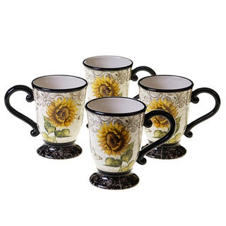 Certified International French Sunflowers 16-ounce Mugs, Set of 4