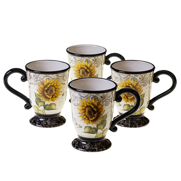 French Sunflowers 16-ounce Mug (Set of 4) 12972563