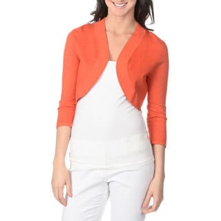Lennie for Nina Leonard Women's Mandarin Red Bracelet-sleeve Knit Shrug