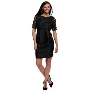 Alex Evenings Women's Petite Black Lace-overlay Knee Length Cocktail Dress