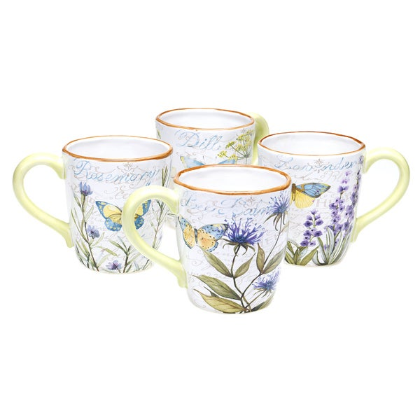 Herb Garden 18-ounce Assorted Mug (Set of 4)