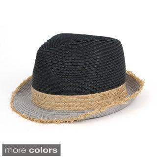 Magid Tri-color Fringed Brim Straw Hat