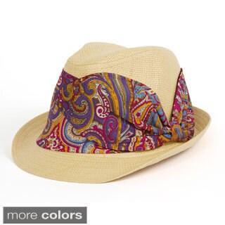 Magid Paisley Band Paper Straw Fedora Hat