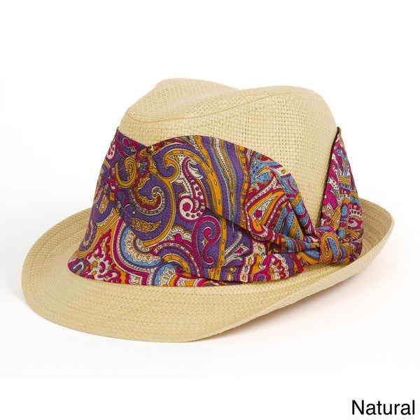 Magid Paisley Band Paper Straw Fedora Hat