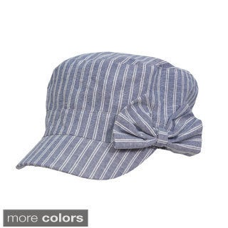Magid Cotton Canvas Striped Cadet Hat with Bow