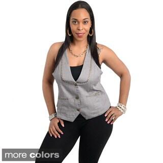 Stanzino Women's Plus-size Sleeveless Denim Studded Vest