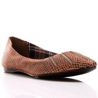 Nvy Women's 'French Fry' Camel Snake-embossed Flats