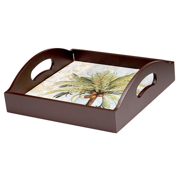 Hand-painted Key West 4-tile Wood and Ceramic 2-handle Serving Tray