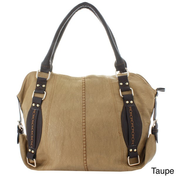 Oasis Handbag 'Elisha' Two-tone Stitched Buckle Satchel