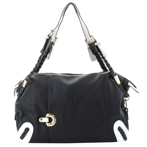 Oasis Handbag 'Albina' Black and White Braided Handle Satchel