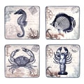 Coastal Postcards 4-piece Assorted 8.25-inch Salad/ Dessert Plate Set