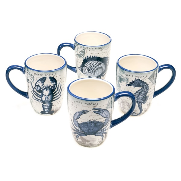 Coastal Postcards 20-ounce Assorted Mugs (Set of 4) 12973102