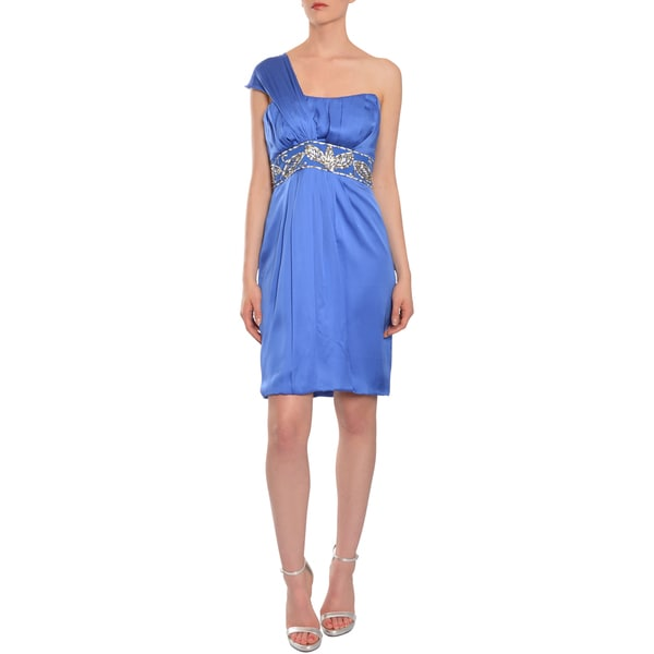 Theia Blue Beaded Silk Asymmetric One-shoulder Cocktail Evening Dress
