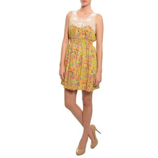 Moon Collection Women's Yellow/ Multi Floral Lace Dress