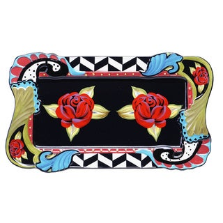 Hand-painted Classic Rose 16-inch Oblong Ceramic Serving Platter