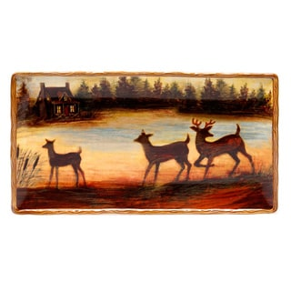 Hand-painted Lakeside Lodge Rectangular Ceramic Serving Platter