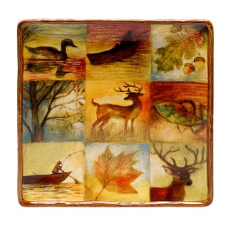 Hand-painted Lakeside Lodge 12.5-inch Square Ceramic Serving Platter