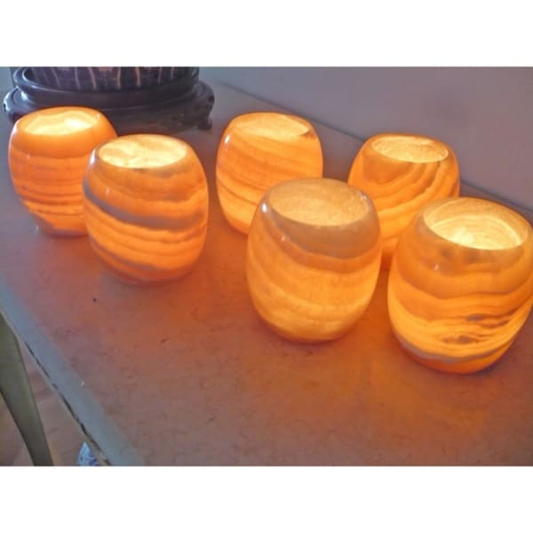 Set of 6 Amon Alabaster Candle Holders (Egypt)