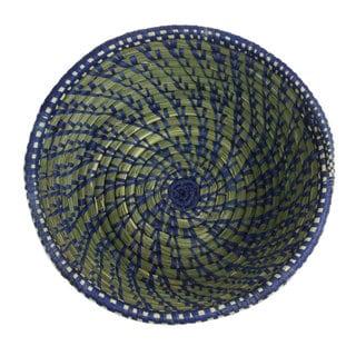 Handwoven Blue Round Sweetgrass Basket (Rwanda)