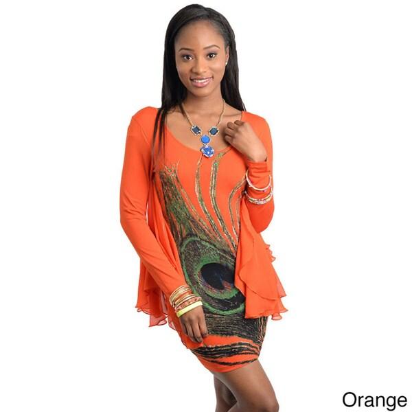 Stanzino Women's Long Sleeve Batwing Mini Dress