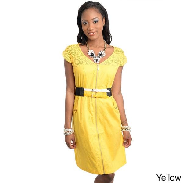 Stanzino Women's Zip-up Belted Dress