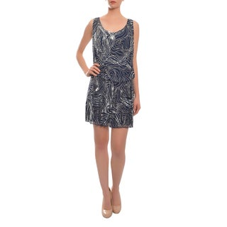 Alice + Olivia Women's 'Cindy' Navy Blue Sequin Pattern Drop-waist Dress