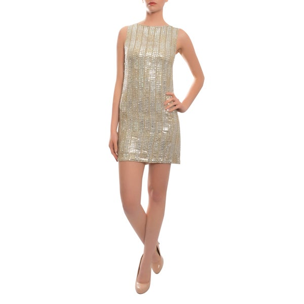 Alice + Olivia Women's 'Leighton' Champagne Silk Sequined Dress