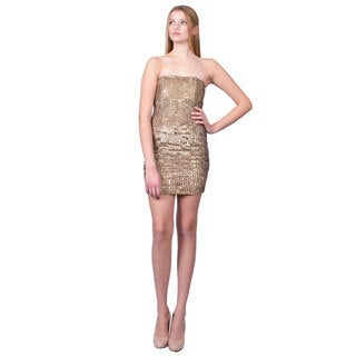 Alice and Olivia Women's Goldtone Sequined Strapless Cocktail Dress