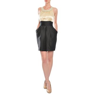 Alexia Admor Women's Black/ Pearl Cummerbund Style Evening Dress