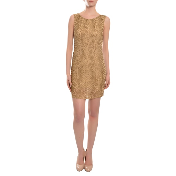 Alice + Olivia Dazzling Goldtone Beaded Party Dress