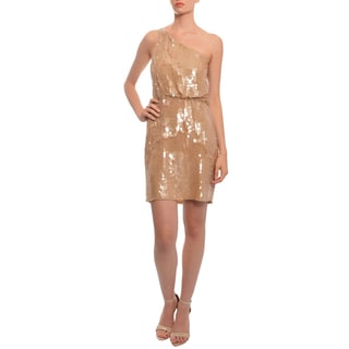 Alice + Olivia Women's Caramel Silk Chiffon Sequined Dress